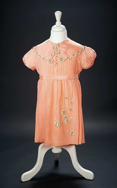 Love, Shirley Temple, Collector's Book: Lot # 464: Peach Silk Special Occasion Dress with Daisy Appliques Worn by Shirley Temple