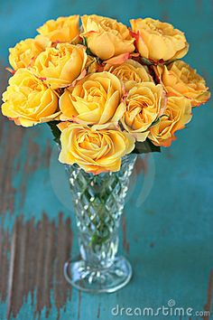 Yellow Roses in Vase by Susabell, via Dreamstime