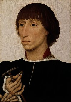 Francesco was the son of Leonello d'Este, ruler of Ferrara, but he received his education in the Netherlands at the court of Philip the Good, duke of Burgundy. The hammer and ring may be jousting prizes or symbols of power, and the unusual white background could refer to the Este family's livery colors (white, red, and green)1460