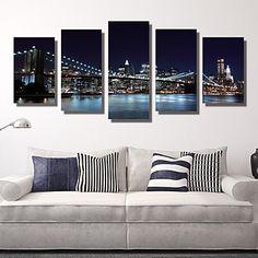 5 Panels Brooklyn Bridge Canvas art Print Modern Wall Art for Livingroom Decoration Unframed - USD $ 31.99