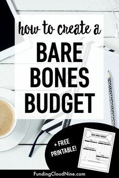If you are struggling to make ends meet, try creating a bare bones budget. This budget reduces your spending to only the essentials needed to survive. Create yours today with this free bare bones budget worksheet (printable).