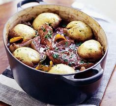Chicken and red wine casserole. Swapped dumplings for potatoes, upped the stock content, swapped the mushroom for carrots. Was very good :)