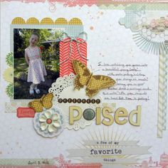 Layer tone-on-tone papers and delicate embellishments in pretty clusters. 1-photo scrapbook page by Ashley Horton