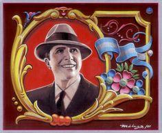 """""""Carlos Gradel"""" Icono del tango rioplatense ,esmalte sintetico sobre harboard 28 x 23,5 cm pintado con la tecnica tradicional del fileteado porteño."""