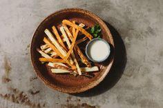 "Sweet Potato Fries with Garlic ""Mayo"""