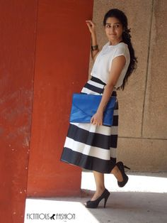 Gorgeous #blackandwhite #stripes skirt #blue #envelopeclutch and #lace #blackpumps