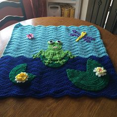 Adorable Frog in a Pond Crochet Baby Blanket with Lily Pads, Dragonfly and…