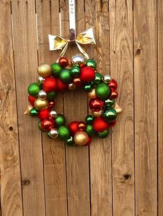 Christmas bulb wreath red green gold by CozyCasaHomeDecor on Etsy, $40.00