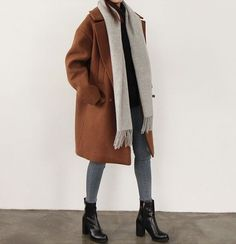 Fall Outfit. boots. coat. scarf.