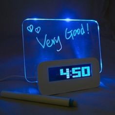 Amazon.com: 5 LED Message Board With Highlighter Digital Alarm Clock With 4 Port USB Hub
