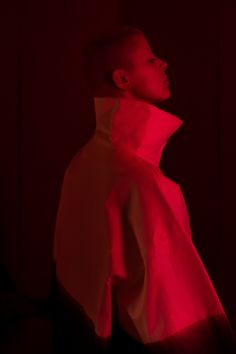 Minimalistic fashion editorial with red light