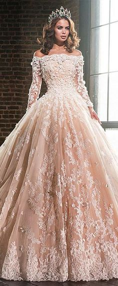 avish Tulle & Satin Off-the-shoulder Ball Gown Wedding Dresses With Lace Appliques