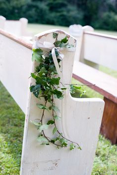 Outdoor Wedding Ceremony - Pews or Benches or a combination. See this wedding on #SMP here: http://www.StyleMePretty.com/2014/05/16/new-england-rustic-wedding/ Photography: GrazierPhotography.com