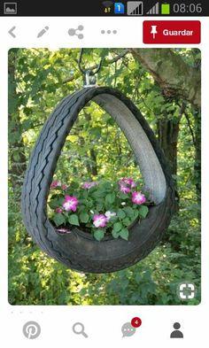 9 Creative DIY Tire Planter Ideas to Upgrade Garden View - You can find Tire planters and more on our Creative DIY Tire Planter Ideas to Upgrade Garden . Tire Planters, Flower Planters, Hanging Planters, Flower Pots, Garden Planters, Garden Crafts, Diy Garden Decor, Garden Projects, Garden Art