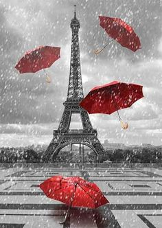 Illustration about Eiffel tower with flying umbrellas. Black and white with red element. Illustration of reflection, holiday, paris - 45172969 Eiffel Tower Art, Paris Green, Paris Painting, Paris Wallpaper, Umbrella Art, Paris Pictures, Vintage Paris, Color Splash, Canvas Wall Art