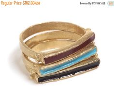 ON SALE Gold Stacking Ring, 9K Yellow Gold Ring, Solid Gold Ring, Delicate narrow rectangular ring, inlaid with colorful enamel, Free Shippi