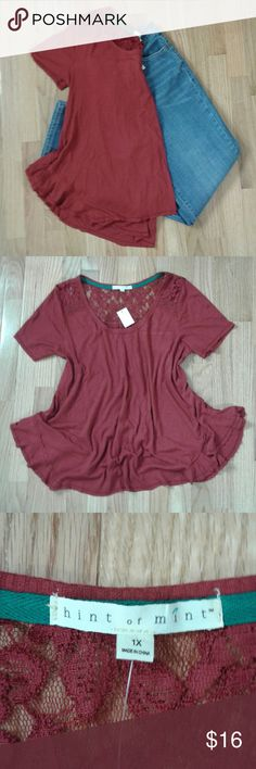 Hint of Mint flowy top 1X NWT NWT Burgundy ribbed short sleeve flowy top. Lace upper back.   Measurements: Armpit to armpit- 20 inches Shoulder to hem- 27 inches Hint of Mint Tops