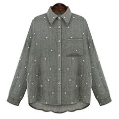 Fashioanble Shirt Collar Long Sleeve Star Print Plus Size Blouse For Women Plus Size Clothing Online, Online Clothing Stores, Tall Clothing, Cheap Shirts, Sammy Dress, Plus Size Blouses, Denim Shirt, Plus Size Outfits, Blouses For Women