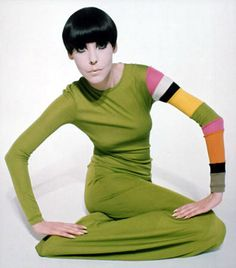 Group of: Peggy Moffitt in Poison Green Matte Jersey T-Shirt with ...
