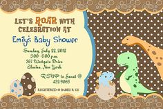 Dinosaur+Dino+Birthday+Baby+Shower+Invitations+YOU+by+cmsprints,+$11.00