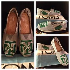 Hand painted UNT Toms just finished. University Of North Texas, Mean Green, Kappa Delta, Dorm Rooms, School Spirit, Tailgating, College Life, Pretty Cool, Playing Dress Up