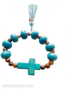 Pulsera de piedra de jaspe hindú y turquesa con cruz latina