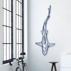 Shark Wooden Wall Art - Display your love of the deep blue sea with the Shark Wooden Wall Art! A fitting tribute to the magnificence of the most feared underwater predator, this designer wall art Wooden Wall Art, Wooden Walls, 3d Wall Art, Wall Art Sculpture, Colorful Wall Art, Metal Walls, Wooden Signs, Shark Tattoos, Hammerhead Shark Tattoo