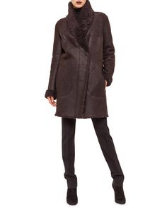 Akris punto Shearling Fur Mid-Length Coat, Modal Jersey Turtleneck Top & Stretch Jersey Skinny Pants Fall 2015
