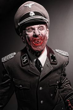 Nazi Zombie, if you'd like to re-create this look or other Nazi Zombies for Halloween or just for fun, go to www.militarytour.com