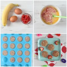 Delicious Banana & Egg Mini Muffins made with just three natural ingredients. Perfect for baby weaning and toddler finger food too! #babyfoodrecipes
