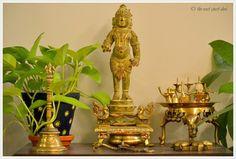 desi vignette , brass and panchloha krishna statue, india inspired vignettes