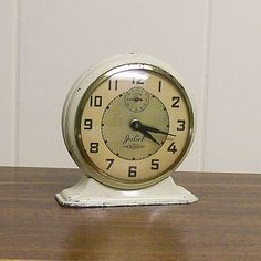 Vintage Wind Up Alarm Clock Cream and Gold