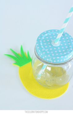 DIY Pineapple Coasters and Pretty Mason Jar Lids (so many colors!) for a fruitful summer party!
