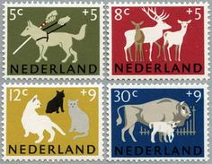 ◇Holland 1964 love the deer. Our Christmas stamp designers could learn something here!