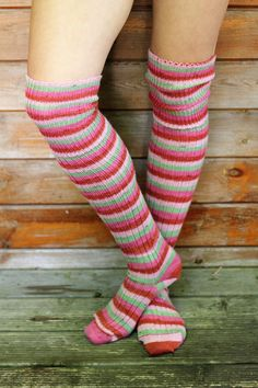 0796809d3b86 Striped RED PINK Green Knee Socks - Winter Wool stockings - Over the Knee  LOLITA Socks - Ribbed Wool Grunge Girl Steampunk - Plus Size