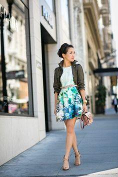 Wendys Lookbook : Floral dress and khaki jacket  elfsacks