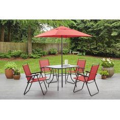 Mainstays Searcy Creek 6-Piece Folding Outdoor Dining Set - Walmart.com $99