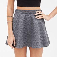 FOREVER 21 Quilted Skater Skirt Grey