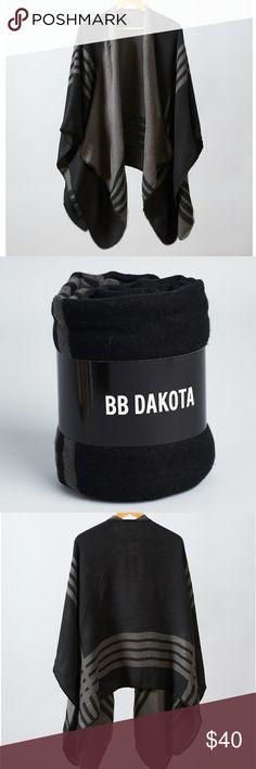 NWT BB Dakota Black Plaid Poncho Open poncho is reversible  Machine wash Still in package, never worn. Blanket stitch edge.  So cozy! BB Dakota Accessories Scarves & Wraps