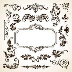 Frame Border Pattern Flowers Vector Vintage Ornamental Design Corner Elements…