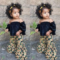 Toddler Baby Girls Off-shoulder Tops+Sunflower Printed Loose Pants Cloth Set Baby Outfits, Outfits Niños, Little Girl Outfits, Toddler Outfits, Cute Kids Outfits, Winter Outfits, Trendy Baby Girl Clothes, Summer Outfits, Cute Black Babies