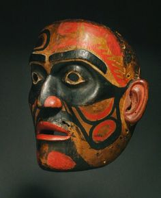Bella Bella Ceremonial Mask, Pacific Northwest Coast Native American Indian Art