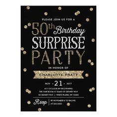15 best surprise party invitations images on pinterest surprise 50th glitter confetti surprise party invitation filmwisefo
