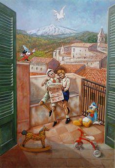"""Opera Pittorica: """"Un Pinocchio per Amico"""". Artista: Elio Ruffo.  100x70, olio su tela, 2014."""