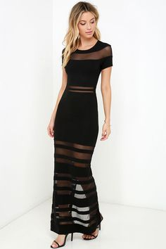 The Stripe Up a Conversation Black Maxi Dress will defintely give you something to talk about all through the evening