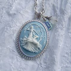 Goddess Cameo Necklace - Diana - Artemis - Huntress - Goddess of the Hunt - Forest - Woodland Wedding - Nature - Blue and White - long chain by SouthernBelleOOAK on Etsy https://www.etsy.com/listing/103185804/goddess-cameo-necklace-diana-artemis