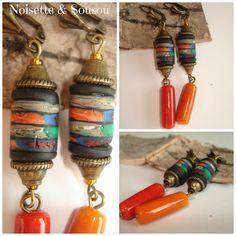 Boucles d'oreilles ethniques boho perles fait main perles argile polymère céramique de la boutique NoisetteetSousou sur Etsy