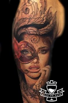 Tattoos - Lady with Venetian mask - 106516