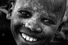 "Africa | ""Suri Smile"". Ethiopia ~ monochrome series | ©Trevor Cole"