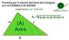 Formula per calcolare l'area del triangolo con la formula di Erone | www.pesi-e-misure.it Formulas, Atari Logo